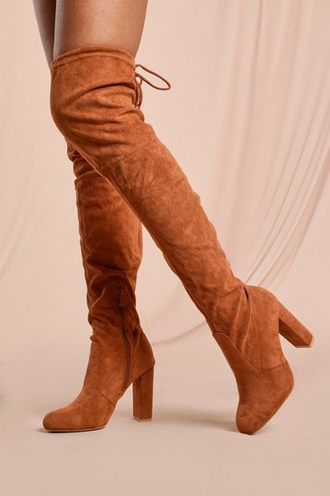 Camel Tie Back Block Heel Thigh High Boots