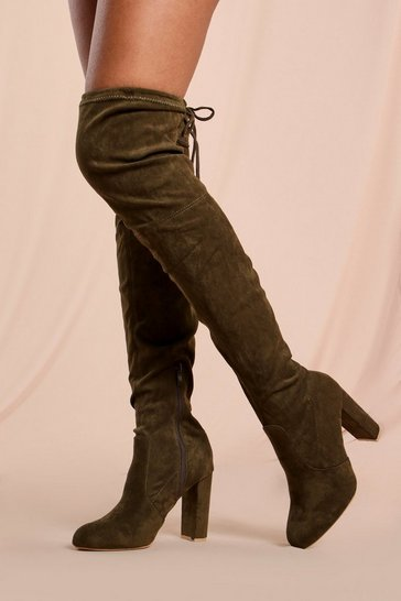 Khaki Tie Back Block Heel Thigh High Boots