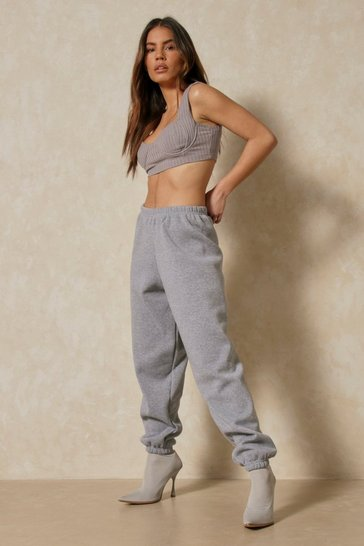 Mid grey Basic High Waisted Oversized Jogger