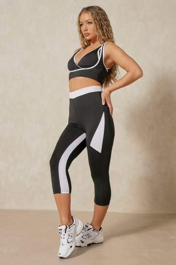 Black Contrast Panel Active Cropped Leggings