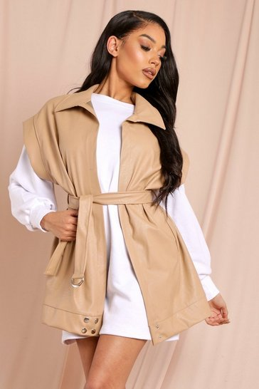 Beige Leather Look Belted Jacket