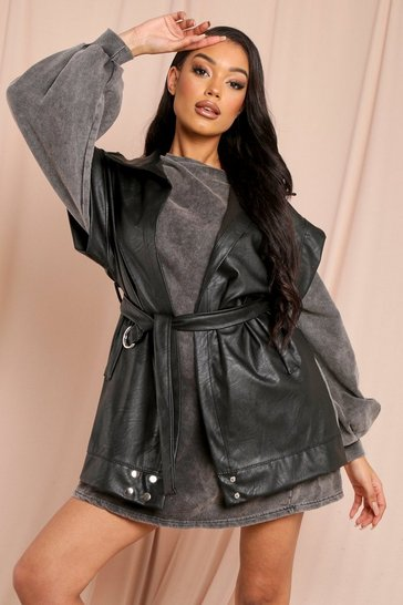 Black Leather Look Belted Jacket