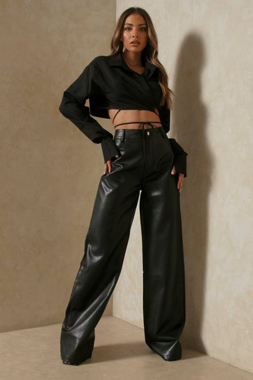 Black Wide Leg Faux Leather Trousers