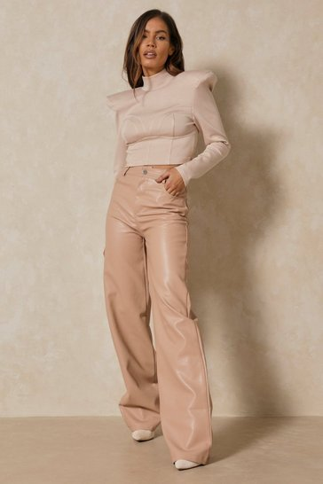 Stone Wide Leg Faux Leather Trousers