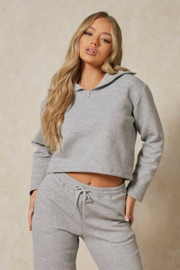 Grey Waffle High Neck Cropped Sweater