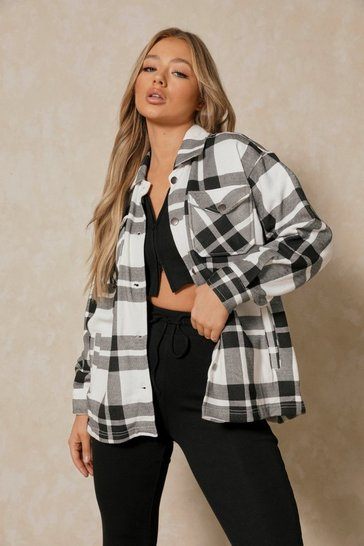 Khaki Oversized Checked Woven Pocket Detail Shacket