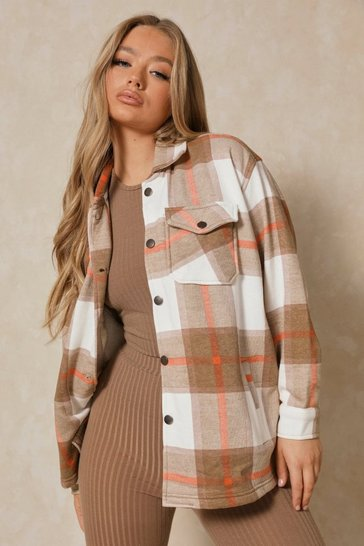 Brown Oversized Checked Pocket Detail Shacket