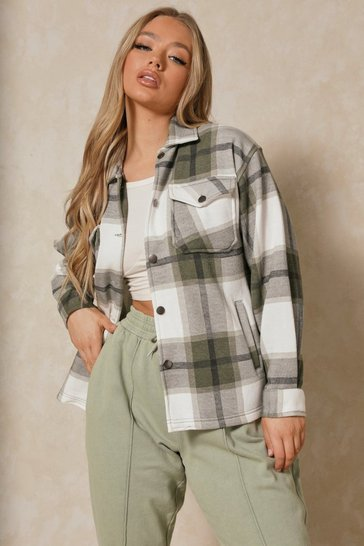 Khaki Oversized Checked Pocket Detail Shacket