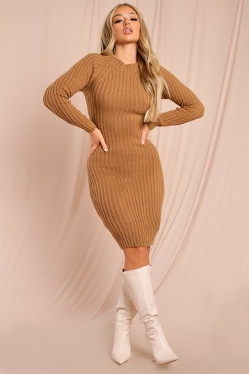 Camel Twist Back Knitted Midi Dress
