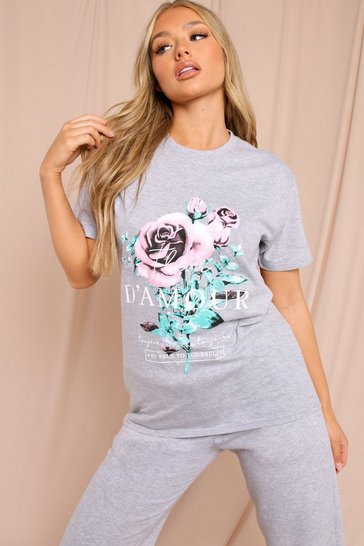 Grey Printed Front Oversized T Shirt