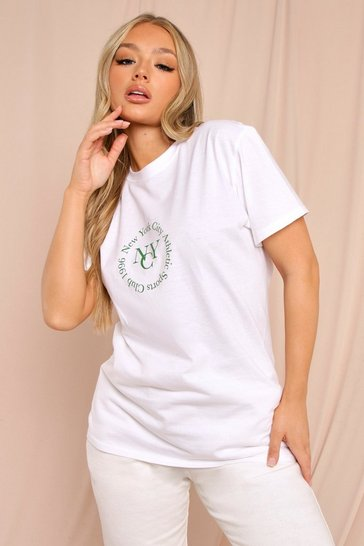 White Oversized Printed Slogan T Shirt
