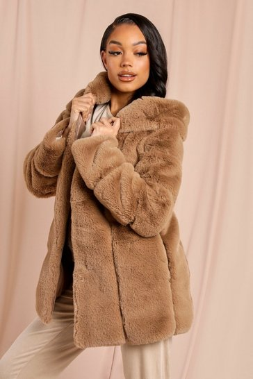 Camel Faux Fur Hooded Coat