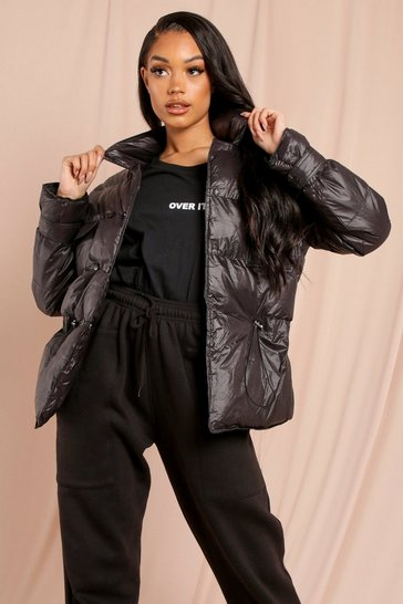 Black Shine Pocket Front Puffer Jacket