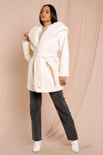 Cream Wool Hooded Coat With Faux Fur Trim