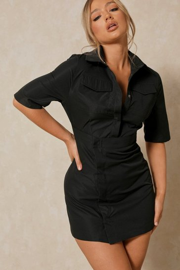 Black Pocket Detail Asymmetric Shirt Dress