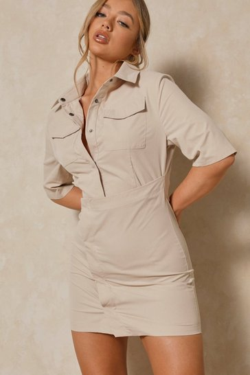 Stone Pocket Detail Asymmetric Shirt Dress