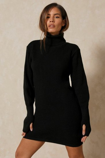 Black Knitted Balloon Sleeve Midi Dress