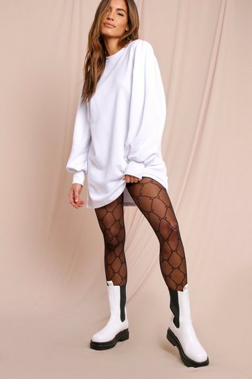 White Infinity Chain Print Sheer Tights