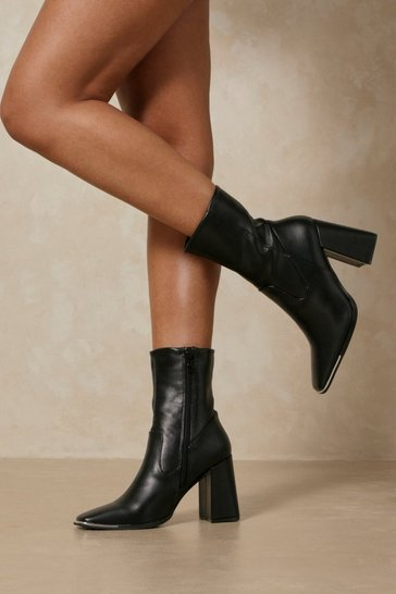 Black Leather Look Metal Toe Ankle Boots