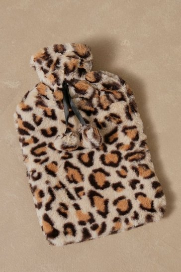 Cream Leopard Faux Fur Hot Water Bottle