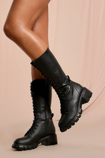 Black Chunky Sole Lace Up Knee High Boot