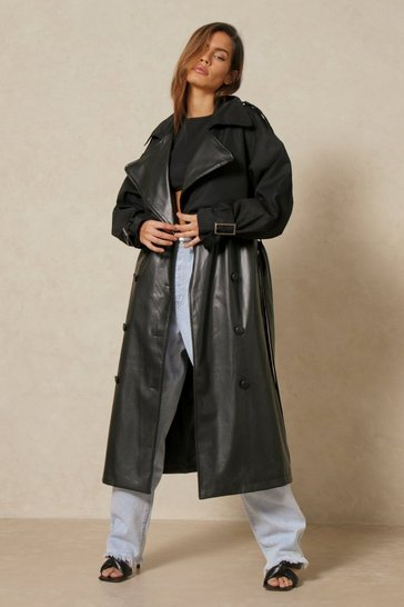 Black Faux Leather Contrast Fabric Trench Coat
