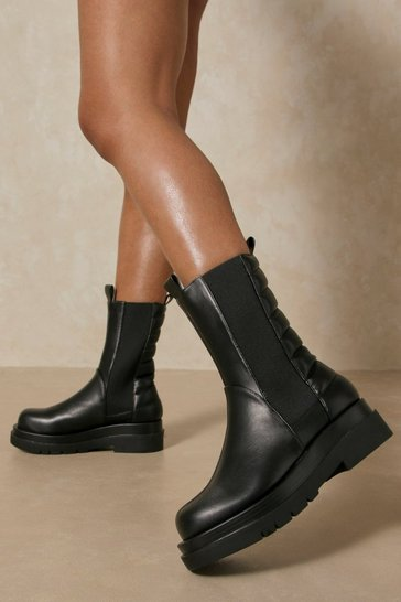 Black Leather Look Ribbed Chunky Ankle Boot