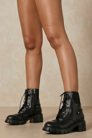 Black Ribbed Detail Lace Up Ankle Boots