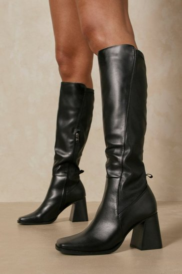 Black Faux Leather Square Toe Knee High Boot