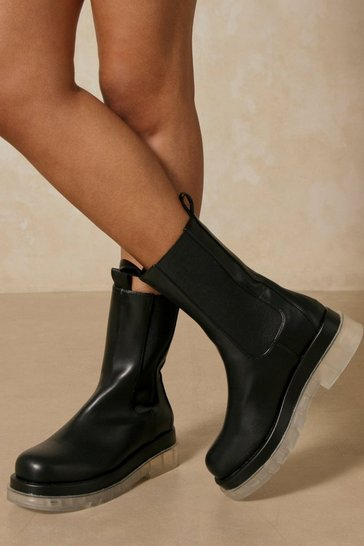 Black Leather Look Rubber Sole Ankle Boots