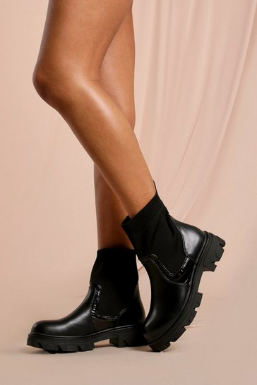 Black Croc Sock Detail Ankle Boot