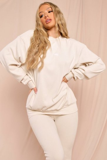 Cream Misspap Label Brushed Rib Oversized Sweatshirt