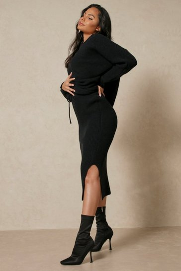 Black Knitted Chunky Rib Split Side Midi Skirt