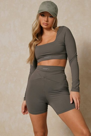 Dark grey Misspap 2 Branded Square Neck Crop Top