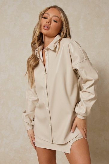 Buttercup Leather Look Oversized Shirt