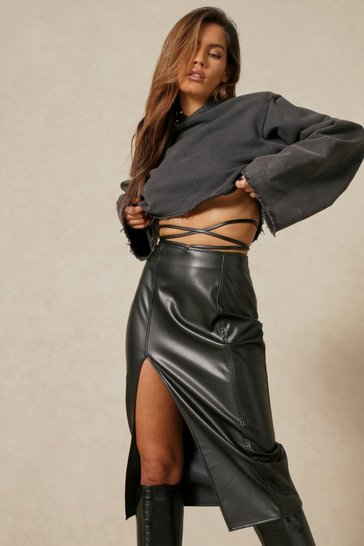 Black Leather Look Split Side Wrap Waist Mini Skirt