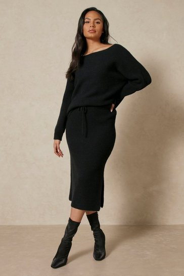 Black Off Shoulder Chunky Rib Knitted Top