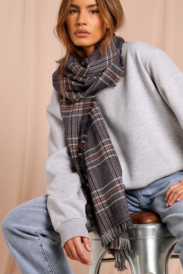 Navy Checked Blanket Scarf