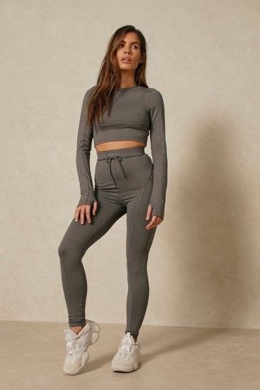 Dark grey Misspap 2 Branded Panel Detail Active Legging