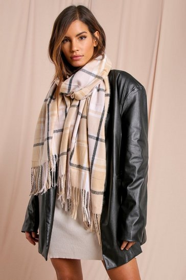 Camel Checked Scarf