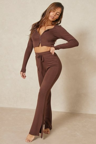 Chocolate Knitted Lounge Side Split Detail Set