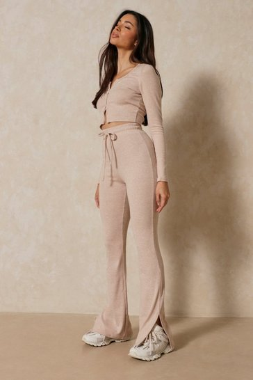 Oatmeal Knitted Lounge Side Split Detail Set