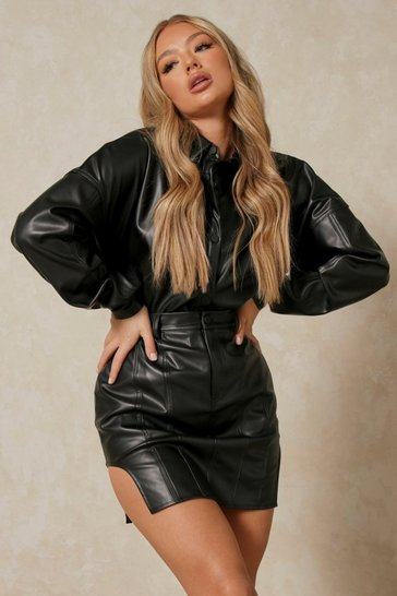 Black Leather Look High Side Mini Skirt