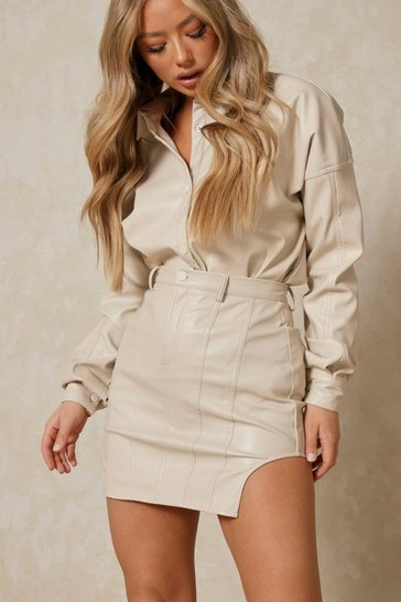 Buttercup Leather Look High Side Mini Skirt