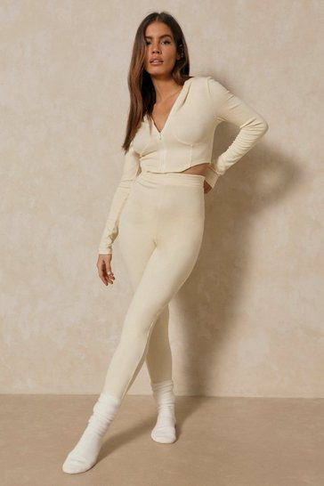 Cream Corset Panel Lounge Set