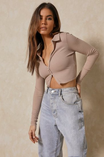Blush Knitted Collared Zip Front Top