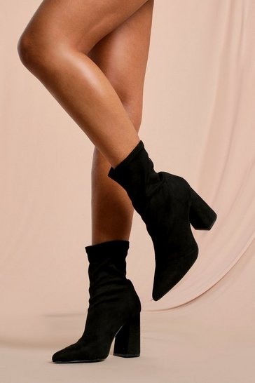 Black Faux Suede Pointed Block Heel Sock Boot