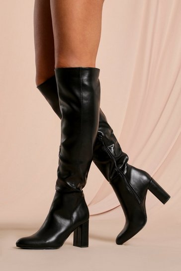 Black Leather Look Pointed Knee High Boot