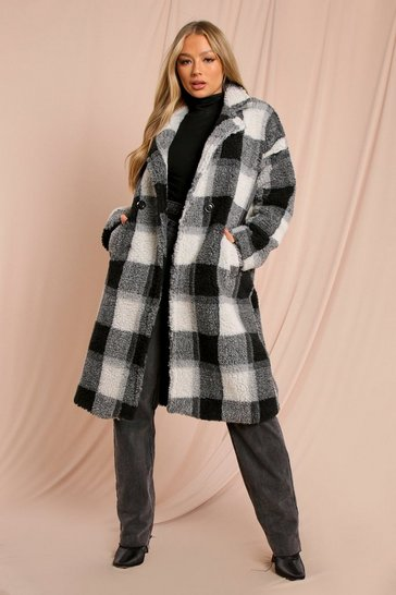 Black Checked Teddy Fur Maxi Coat
