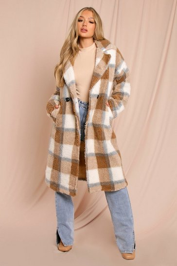 Brown Checked Teddy Fur Maxi Coat